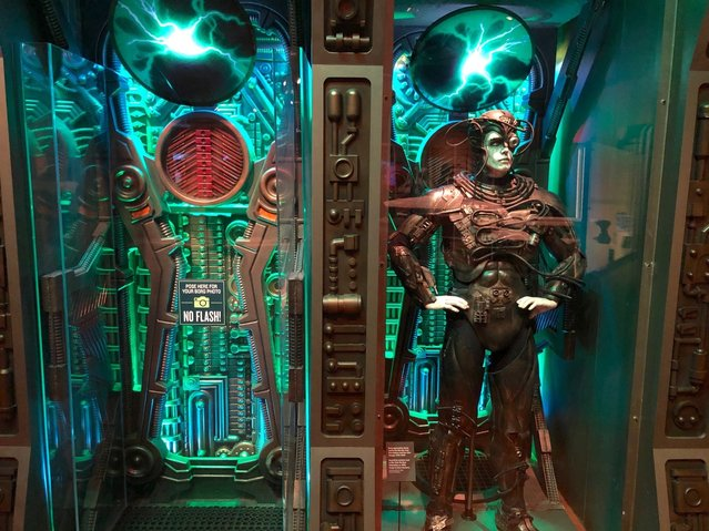 """In this May 9, 2019 photo, a Borg costume from """"Star Trek: The Next Generation"""" is displayed at the """"Star Trek: Exploring New Worlds"""" exhibit at The Henry Ford Museum in Dearborn, Mich. The traveling exhibition runs through Sept. 2 at the museum and offers a look at more than 100 artifacts and props from the original TV series and its spinoffs. It also explores its enduring impact on culture, from arts and technology to fashion and literature. (Photo by Ed Pevos/Ann Arbor News via AP Photo)"""