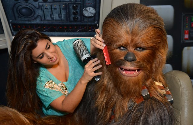 "Members of staff makes last minute touch ups of wax figure Chewbacca, from Star Wars, on display at ""Star Wars At Madame Tussauds"" on May 12, 2015 in London, England. (Photo by Stuart C. Wilson/Getty Images)"