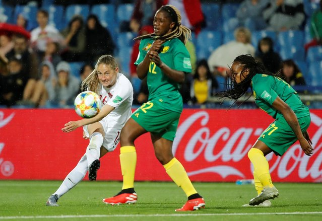 Canada's Janine Beckie shoots at goal against Cameroon during the France 2019 Women's World Cup Group E football match between Canada and Cameroon, on June 10, 2019, at the Mosson Stadium in Montpellier, southern France. (Photo by Jean-Paul Pelissier/Reuters)