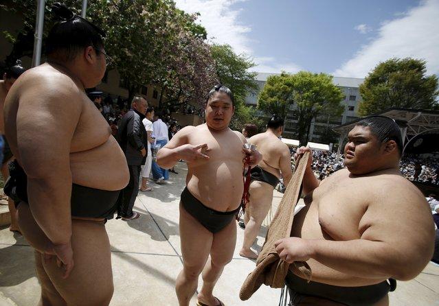 "Sumo wrestlers wait for the start of the annual ""Honozumo"" ceremonial sumo tournament dedicated to the Yasukuni Shrine in Tokyo, Japan, April 18, 2016. (Photo by Yuya Shino/Reuters)"