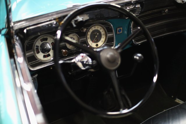 A detailed view of the dashboard, guages and steering wheel of the 1936 Auburn 851 Supercharged Speedster during the The 40th Antwerp Classic Salon run by SIHA Salons Automobiles and held at Antwerp EXPO Halls on March 3, 2017 in Antwerpen, Belgium. (Photo by Dean Mouhtaropoulos/Getty Images)