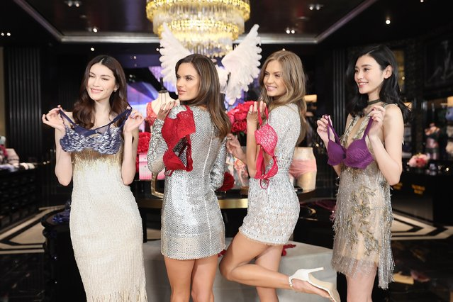 (L-R) Victoria's Secret Angels He Sui, Alessandra Ambrosio, Josephine Skriver and Xi Mengyao attend the Grand Opening Of Victoria's Secret Shanghai Flagship Store on March 8, 2017 in Shanghai, China. (Photo by Hu Chengwei/Getty Images)