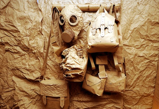 A gas mask at a paper and cardboard exhibition to commemorate First World War centenary at Birmingham University, Birmingham, on February 27, 2014. (Photo by Rui Vieira/PA Wire)