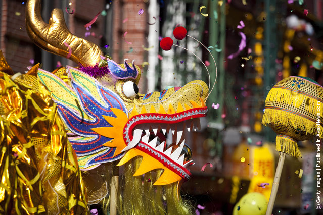 Dragon dancers perform during the 12th Annual Chinatown Lunar New Year Parade