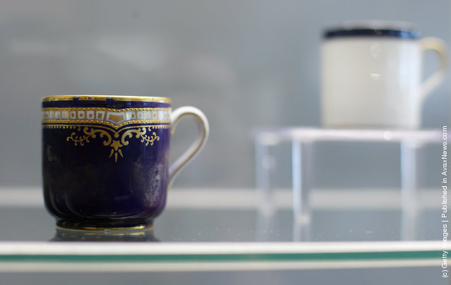 First-class passenger china is seen among artifacts recovered from the RMS Titanic