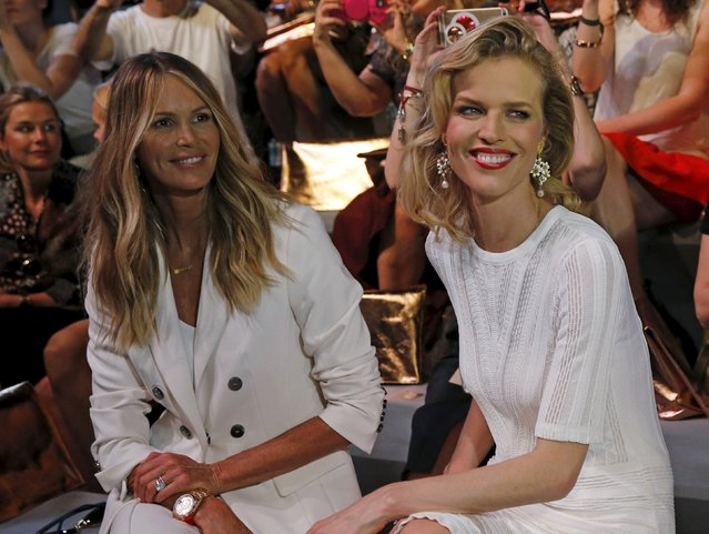 Model Eva Herzigova (R) and Elle Macpherson arrive for the presentation of creations by fashion lable Marc Cain at Berlin Fashion Week Spring/Summer 2016 in Berlin, Germany, July 7, 2015. (Photo by Fabrizio Bensch/Reuters)