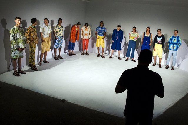 Models stand on stage for the Boyswear presentation during Men's Fashion Week, in New York, July 13, 2015. (Photo by Lucas Jackson/Reuters)
