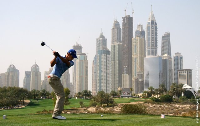 Rafael Cabrera-Bello of Spain hits his tee-shot on the eighth hole during the third round of the Omega Dubai Desert Classic