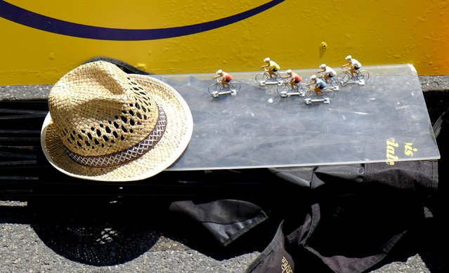 Miniatures models of riders are seen at the finish line during the 16th stage of the 102nd Tour de France cycling race from Bourg-de-Peage to Gap, France, July 20, 2015. (Photo by Stefano Rellandini/Reuters)