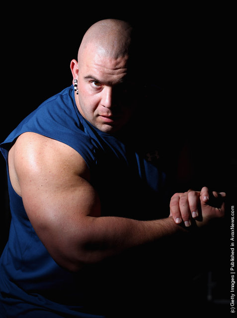 Strongman Mike Jenkins poses during a media call ahead of the 2012 IFBB Australian Pro Grand Prix XIII