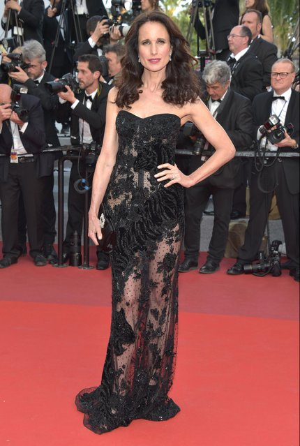 """Andie MacDowell attends """"The Killing Of A Sacred Deer"""" premiere during the 70th annual Cannes Film Festival at Palais des Festivals on May 22, 2017 in Cannes, France. (Photo by Pascal Le Segretain/Getty Images)"""