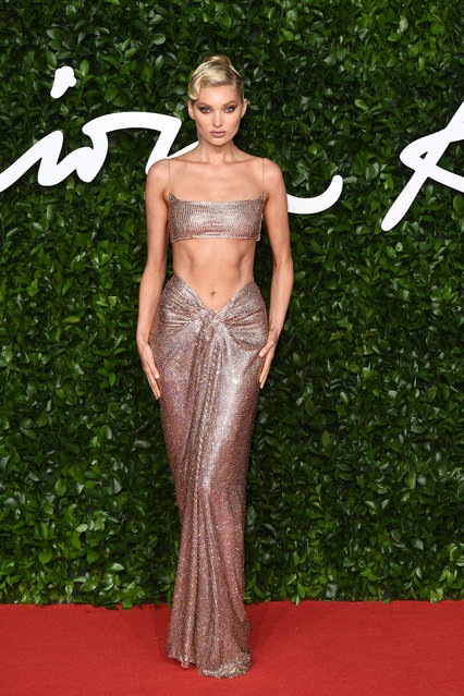 Elsa Hosk arrives at The Fashion Awards 2019 held at Royal Albert Hall on December 02, 2019 in London, England. (Photo by Jeff Spicer/BFC/Getty Images)