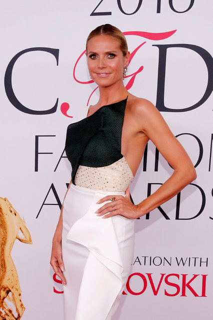 Model Heidi Klum arrives for the 2016 CFDA Fashion Awards in Manhattan, New York, U.S., June 6, 2016. (Photo by Andrew Kelly/Reuters)