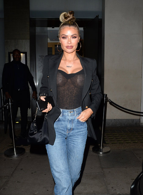 The Towie star Chloe Sims enjoyed dinner and drinks with friends in Mayfair restaurant Nobu in London, England on January 4, 2020 and was snapped wearing high-waisted flare jeans, paired with a black sheer bustier and a smart blazer, with gold heels. (Photo by Splash News and Pictures)