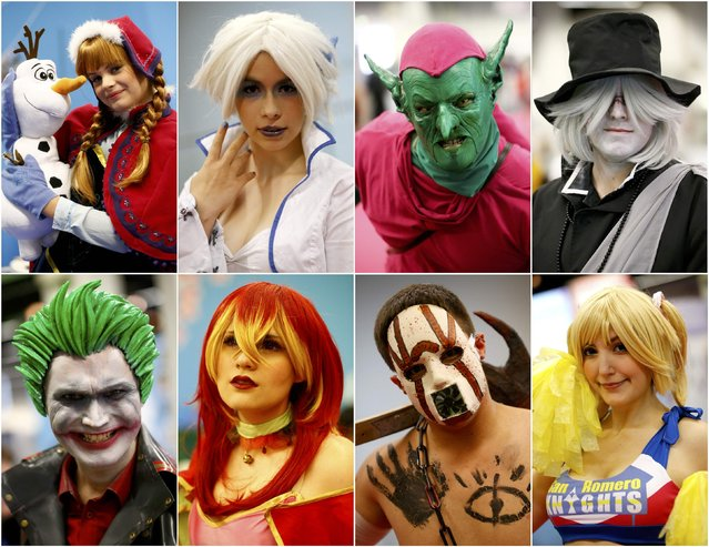 A combination photo shows cosplayers posing during the Gamescom fair in Cologne, Germany August 6, 2015. The Gamescom convention, Europe's largest video games trade fair, runs from August 5 to August 9. (Photo by Kai Pfaffenbach/Reuters)