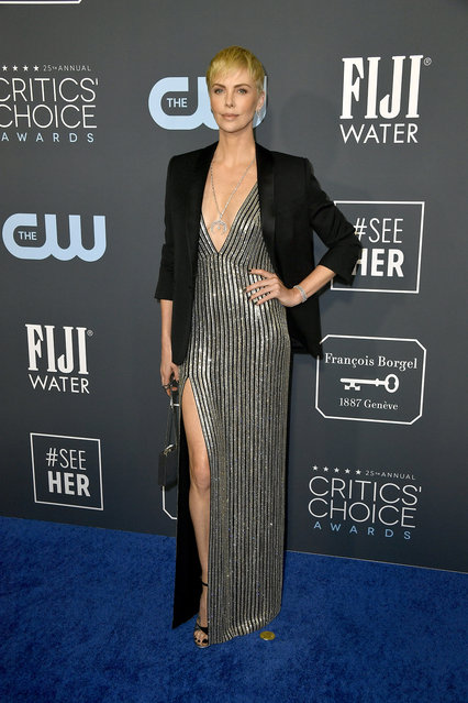 Charlize Theron attends the 25th Annual Critics' Choice Awards at Barker Hangar on January 12, 2020 in Santa Monica, California. (Photo by Frazer Harrison/Getty Images)
