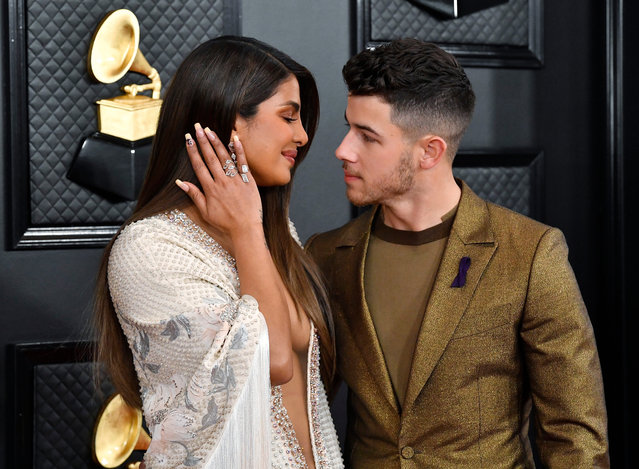 (L-R) Priyanka Chopra and Nick Jonas of music group Jonas Brothers attend the 62nd Annual GRAMMY Awards at STAPLES Center on January 26, 2020 in Los Angeles, California. (Photo by Frazer Harrison/Getty Images for The Recording Academy)