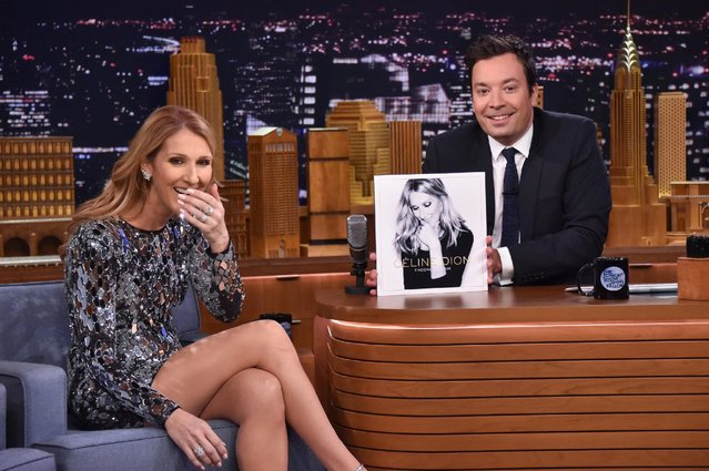 "Singer Celine Dion (L) is interviewed by host Jimmy Fallon on ""The Tonight Show Starring Jimmy Fallon"" at Rockefeller Center on July 21, 2016 in New York City. (Photo by Mike Coppola/Getty Images for NBC)"