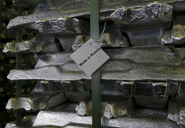 Aluminium ingots are stored at a foundry shop of the Rusal Khakassia aluminium smelter outside the town of Sayanogorsk, Russia, September 3, 2015. (Photo by Ilya Naymushin/Reuters)