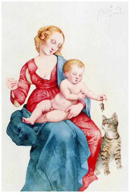 Madonna Mit Katze. Artwork by Michael Mathias Prechtl