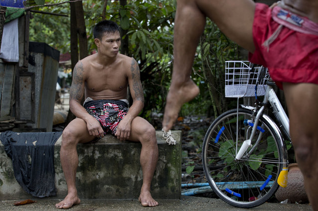 In this Tuesday, July 14, 2015, photo, a member of the White New Blood lethwei fighters club, a Myanmar traditional martial-arts club which practices a rough form of kickboxing, sits during a practice session in their gym on a street in Oakalarpa, north of Yangon, Myanmar. (Photo by Gemunu Amarasinghe/AP Photo)