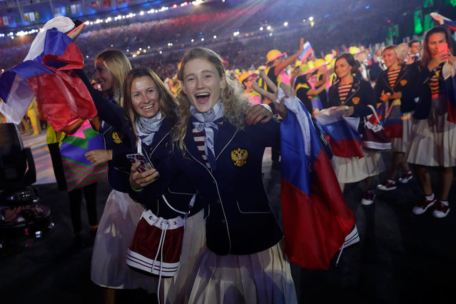 Members of the Russia Olympic Team take part in the Opening Ceremony of the Rio 2016 Olympic Games at Maracana Stadium on August 5, 2016 in Rio de Janeiro, Brazil. (Photo by Jamie Squire/Getty Images)