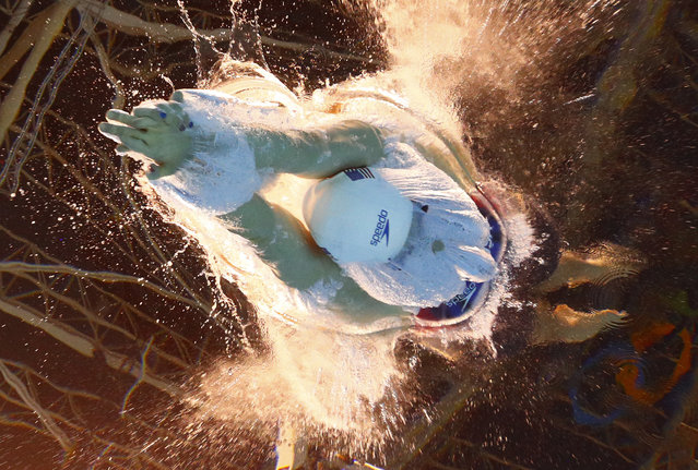 United States' Katie Ledecky starts a women's 800-meter freestyle heat during the swimming competitions at the 2016 Summer Olympics in Rio de Janeiro, Brazil, Thursday, August 11, 2016. (Photo by Lee Jin-man/AP Photo)