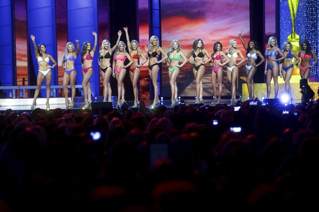 Miss America contestants compete in the swimsuit component of the pageant at Boardwalk Hall, in Atlantic City, New Jersey, September 13, 2015. (Photo by Mark Makela/Reuters)