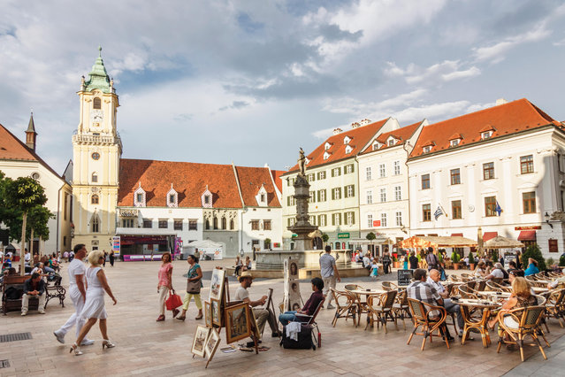 8: Bratislava, Slovakia. Latest ranking: 63; Ranking five years ago: 64; Five-year index movement: 1.7%. Here: Old Town main square with people at a street cafe. (Photo by Luis Dafos/Alamy Stock Photo)