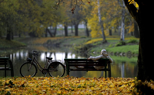 A woman, seated on a bench, enjoys the pleasant and unusually warm weather for this period of the year, at a park in Skopje, Macedonia, Sunday, November 18, 2012. (Photo by Boris Grdanoski/AP Photo)