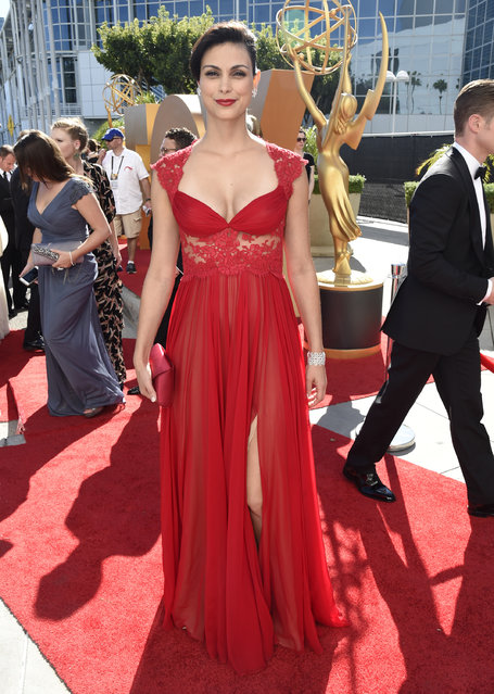 Morena Baccarin arrives at the 67th Primetime Emmy Awards on Sunday, September 20, 2015, at the Microsoft Theater in Los Angeles. (Photo by Dan Steinberg/Invision for the Television Academy/AP Images)