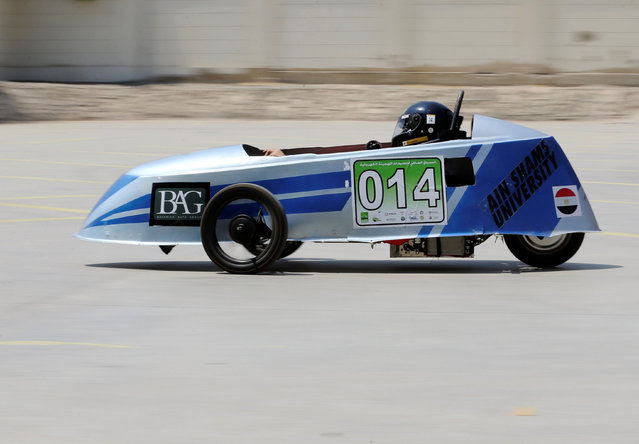 An Egyptian university student drives a hybrid racing car he built his team to compete with at the Global Hybrid-Electric Challenge in Cairo, Egypt September 2, 2016. (Photo by Mohamed Abd El Ghany/Reuters)