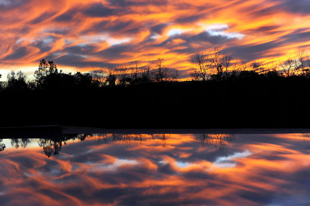 An early morning sunrise in the October sky is reflected in a swimming pool, October 28, 2014, in Purcellville, Va. (Photo by Richard Lipski/The Washington Post)