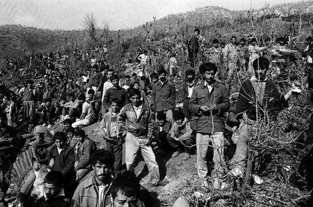 Iraqi Kurdish refugees wait in Cukurca refugee camp in Turkey April 7, 1991. (Photo by Srdjan Zivulovic/Reuters)