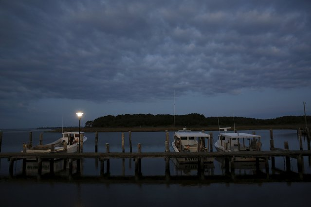 Crab boats are moored at the dock at dawn on Hooper's Island, Maryland August 26, 2015. (Photo by Jonathan Ernst/Reuters)