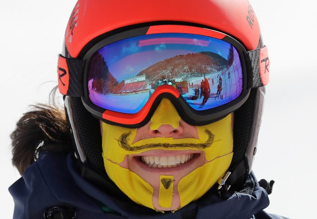 Italy's Federica Brignone has her face covered in tape to protect her from the cold during an inspection of the giant slalom course at the Yongpyong Alpine Center at the 2018 Winter Olympics in Pyeongchang, South Korea, Sunday, February 11, 2018. (Photo by Michael Probst/AP Photo)