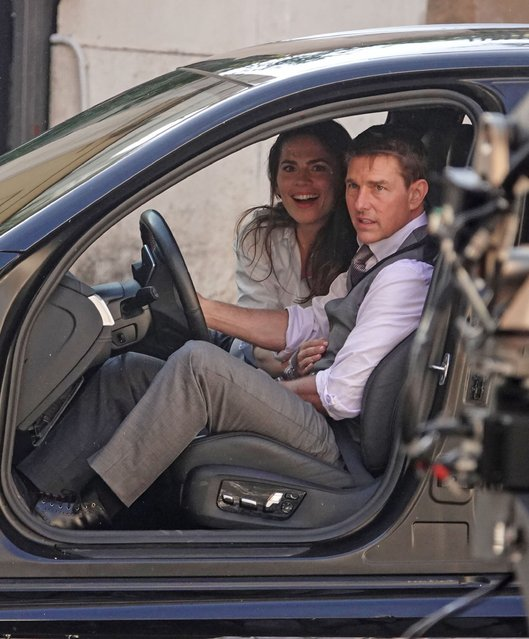 All action Hollywood actor Tom Cruise and Hayley Atwell are spotted on the set of Mission Impossible 7 in Rome filming on October 6, 2020, with Hayley hanging on tight to Tom's gearstick during a dangerous car scene near the Colosseum. (Photo by Cobra Team/Backgrid USA)
