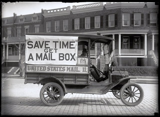Got a Mail Box. Post Office Department Mail Wagon, photographed by Harris & Ewing in 1916.