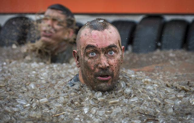 Competitors take part in the Tough Mudder London South on October 25, 2014 in Winchester, England. The world-famous Tough Mudder is military style endurance event over 10-12 mile obstacle course designed to test all-around strength, stamina, teamwork, and mental grit.  (Photo by Justin Setterfield/Getty Images)
