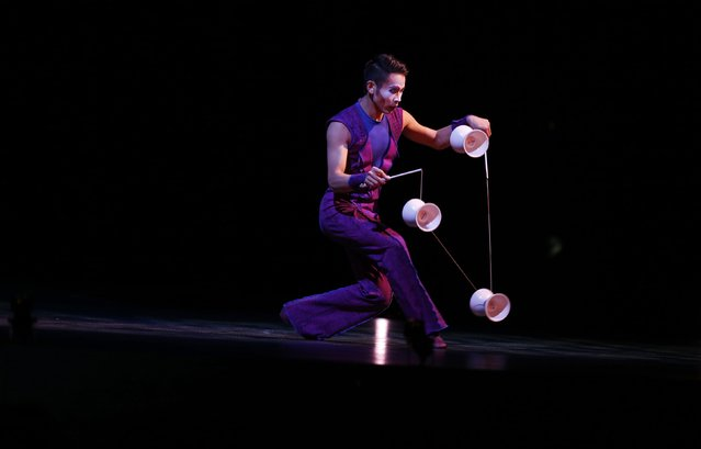 "An artist performs during the Cirque du Soleil's ""Quidam"" show at the MEO Arena in Lisbon December 18, 2014. (Photo by Rafael Marchante/Reuters)"