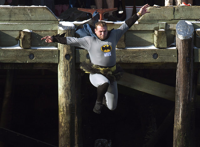 A man wearing a Batman suit and a tutu leaps from the government wharf into the frigid North Atlantic in the annual New Year's Day polar bear swim in Herring Cove, N.S. on Thursday, January 1, 2015. (Photo by Andrew Vaughan/AP Photo/The Canadian Press)