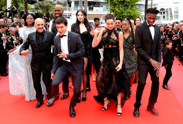 """The team of the film """"Climax"""" arrives for the screening of the film """"BlacKkKlansman"""" during the 71st annual Cannes Film Festival at Palais des Festivals on May 14, 2018 in Cannes, France. (Photo by Regis Duvignau/Reuters)"""