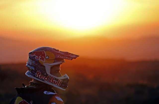 KTM rider Marc Coma of Spain prepares to start before the 2nd stage of the Dakar Rally 2015, from Villa Carlos Paz to San Juan January 5, 2015. (Photo by Jean-Paul Pelissier/Reuters)