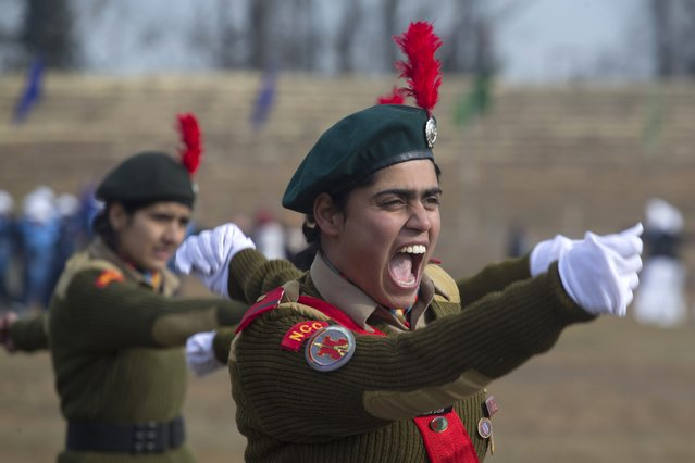 A cadet of the National Cadet Corps (NCC) shouts during a full dress rehearsal of the Republic Day parade in Srinagar, India, Saturday, January 24, 2015. (Photo by Dar Yasin/AP Photo)