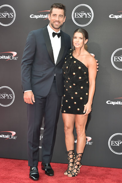 Aaron Rodgers and Danica Patrick attend The 2018 ESPYS at Microsoft Theater on July 18, 2018 in Los Angeles, California. (Photo by David Crotty/Patrick McMullan via Getty Images)