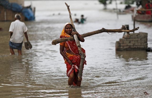 A woman wades through a flooded street carrying logs of wood to be used to reinforce her shanty submerged in a slum area after a rise in the waters of the river Yamuna in New Delhi, India, July 31, 2018. (Photo by Adnan Abidi/Reuters)