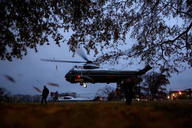 U.S. President Barack Obama departs aboard the Marine One helicopter after visiting wounded members of the military at Walter Reed National Military Medical Center in Bethesda, Maryland, U.S. November 29, 2016. (Photo by Jonathan Ernst/Reuters)