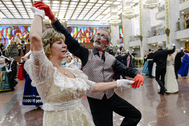 Participants dance at the Spring Ball in the Victory Museum in Moscow, Russia, on April 3, 2021. More than 200 participants from different cities of Russia gathered here to wait for the traditional Spring Ball on Saturday. (Photo by Chine Nouvelle/SIPA Press/Rex Features/Shutterstock)