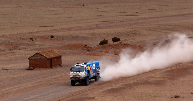 Airat Mardeev of Russia drives his Kamaz truck during the seventh stage in the Dakar Rally 2016 near Uyuni, Bolivia, January 9, 2016. (Photo by Marcos Brindicci/Reuters)