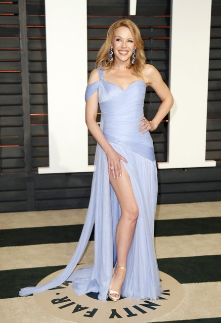 Australian singer Kylie Minogue arrives at the 2015 Vanity Fair Oscar Party in Beverly Hills, California February 22, 2015. (Photo by Danny Moloshok/Reuters)